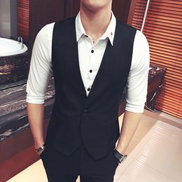 Hot Sale New Arrival Mens V-Neck Slim Fit Vests Suit Casual Formal Tuxedo Dress Waistcoat Style Outerwear