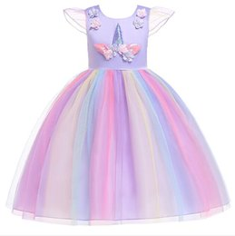 1pcs 2019 Flower Girls Unicorn Appliqued Princess Dress Rainbow Ruffle Dresses Children Easter Cosplay costumes Clothes Kids boutique