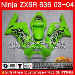 Body For KAWASAKI NINJA ZX600 light green hot ZX636 ZX-6R 03 04 ZX-636 36HC.7 ZX 636 6 R 600CC ZX6R 03 04 ZX 600 ZX 6R 2003 2004 Fairing kit