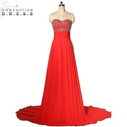 Designer in stock Long Prom Dresses Illusion Neck Beads Chiffon Floor Length Cheap Bridesmaid Dress Party Gowns CPS655
