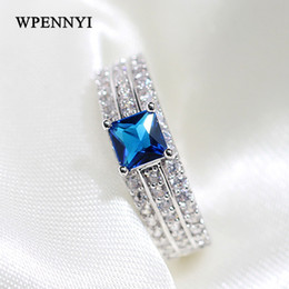 Top Quality Silver Color Square Ocean Blue Zirconia Crystal Micro Paved Princess cut Luxury Woman Finger Rings Christmas Gifts