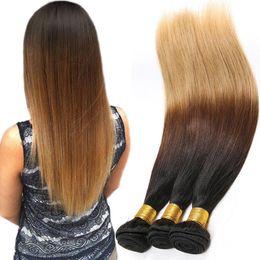 Ombre Malaysian Hair Extension 3 Tone Color 1B 4 27 Virgin Ombre Human Hair Weave 100g Bundles 3 Tone Ombre Hair