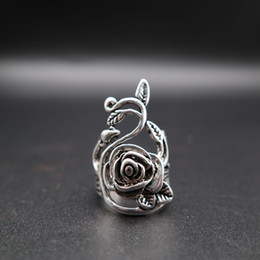 24PC Factory Price Korean Jewelry Assorted Finger Ring Antique Silver Rose Ring with Leaf 5-11 Size