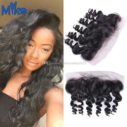 MikeHAIR Peruvian Hair Loose Wave Lace Frontal Natural Color Ear to Ear Lace Frontal Closure Cheap Brazilian Malaysian Indian Hair Frontals