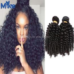 MikeHAIR Brazilian Curly Hair Extensions 4Pcs Peruvian Indian Cambodian Monglian Kinky Curly Hair Bundles 100g Cheap Hair Weaves Wholesale