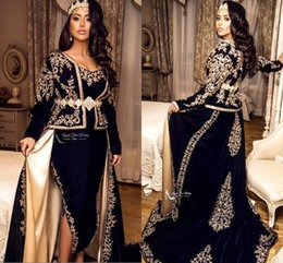 2020 Dark Navy Arabic Front Split Evening Dresses Lace V Neck Floor Length Long Sleeves Prom Dresses Mother Dress Formal Party Gown