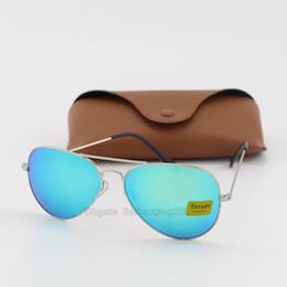 Brand Designer Classic Pilot Sunglasses for Men Women Driving Txrppr Sun glasses UV400 Silver Metal Frame Green Mirror Lenses 58mm