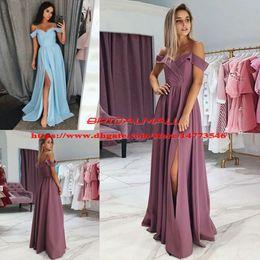 Dusky Pink Chiffon Long Prom Dresses 2019 Simple Spaghetti Straps Formal Party Gowns Sexy Side Split Evening Dress Cheap vestido de fiesta