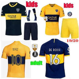 2019 2020 Adult kids Boca Juniors soccer Jersey sets PAVON DE ROSSI 2019 2020 GAGO OSVALDO CARLITOS TEVEZ men child football kits shirt