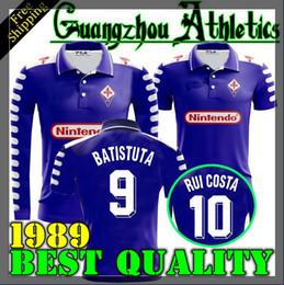 1998 1999 Retro Fiorentina Soccer Jerseys 9 BATISTUTA 10 RUI COSTA Custom Vintage 98 99 Florence Home Football Shirt Camisas de Futebol