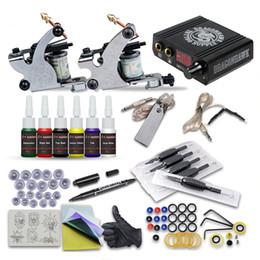 Complete Tattoo Kits 2 Machine Guns Liner Shader 6 Inks Mini LCD Power Supply Beginner Practice Kit