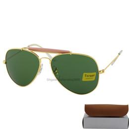5pcs Fashion Txrppr Men Women Designer Pilot Sunglasses Sun Glasses Gold Metal Frame Green Glass Lenses 62mm UV400 Protection Boxes Case