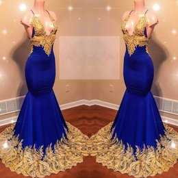 2019 Gold Appliques Royal Blue Prom Prom Dresses V-neck Spaghettis Mermaid Sexy Evening Gowns Custom Made