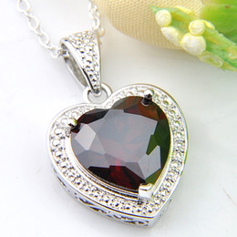 LUCKYSHINE Jewelry Brand New Heart Red Garnet Gemstone 925 Sterling Silver Necklaces Holiday Party Canada Mexico Jewelry Gift