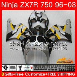 Body For KAWASAKI NINJA ZX 7R ZX750 ZX-7R 1996 1997 1998 1999 2000 28HC.19 ZX-750 ZX 7 R ZX 750 ZX7R 96 97 98 99 silvery black 00 Fairings