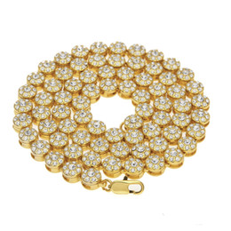 MEN 1 ROW Cluster Chain ICED OUT YELLOW GOLD PLATED HIP HOP BLING CZ MEN CHAIN NECKLACE JEWELRY