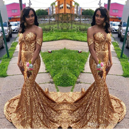 Sparkly Gold Sequins Prom Dresses 2019 African Mermaid Sweetheart Sweep Strain Formal Evening Party Gowns Custom Made Plus Size