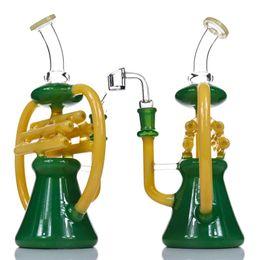 "10.5"" Recycler Dab Rig Glass Bong Inline perc NOTE Percolator Bongs Water Pipe With Bowl Quartz Banger Beaker Bong Colorful Heady Rigs"