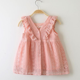 Retail 2019 Girls Lace Lotus Leaf Princess Dress Baby Kids boutique Cosplay Summer V-neck Button Birthday Dresses baby girl designer clothes