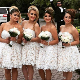 New Simple A Line Knee Length Lace Bridesmaid Dresses Sweetheart Beads Puffy Skirt Party Gown Short Prom Dress for Wedding