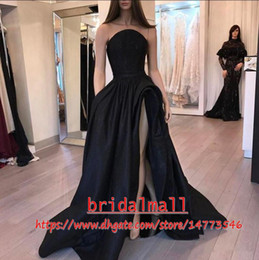 Arabic Dubai Black Evening Dresses 2019 Thigh High Split Formal Evening Gowns Special Occasion Dress Party Celebrity Wear Long Prom Dresses