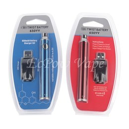 510 Preheating Battery Push Button Twist Evod Vape Preheat VV 650mah ego Thread Come With USB Charger Blister Kit For Ceramic Cartridges