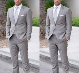 Elegant Gray Two Pieces(Jacket+Pants) Mens Suits Blazer Tuxedos For Wedding Prom Evening Party Bridegroom Best Men Suits Business Men Wear
