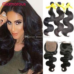 Glamorous Brazilian Hair Bundles with Silk Top Closure Peruvian Indian Malaysian Body Wave Human Hair Weaves 3 Bundles with Silk Top Closure