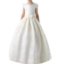 Ivory Satin Beading Pearls Flower Girls Dresses Wth Short Sleeves Infant Little Kids Pageant Gowns Bow Sash Children Wedding Birthday Dress