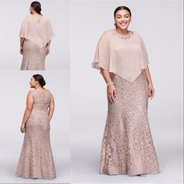 2020 Mother Of the Bride Dresses Jewel Neck Full Lace With Chiffon Cape Wrap Beaded Mermaid Sleeveless Plus Size Wedding Guest