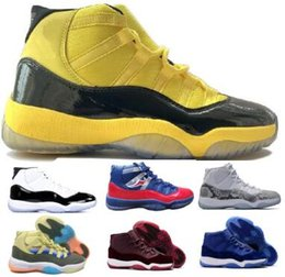 11 11s Basketball Shoes Sneakers 2019 New Yellow Bred Concord Snakeskin Heiress Velvet Space Jam Platinum Tint XI Mens Women Trainers Shoes