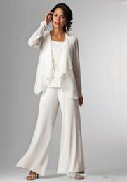 Elegant Chiffon Lady Pants Suits Mother of The Bride Groom With Jacket Plus Size Women Party Dresses Trouser Suit BA5522