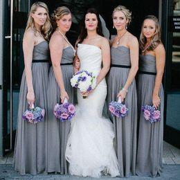 Elegant Gray Chiffon Bridesmaid Dresses Long Sweetheart Pleats Draped Wedding Guest Party Dress Bridesmaid Formal Gowns Cheap