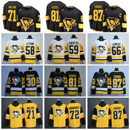 2019 Stadium Series Pittsburgh Penguins 71 Evgeni Malkin Jersey 87 Sidney Crosby 58 Kris Letang Phil Kessel Jake Guentzel Black Yellow White