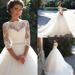 Cheap Country Vintage Lace 2019 Wedding Dresses High Half Long Sleeves Pearls Tulle Princess Ball Gowns Cheap Bridal Dresses Plus Size