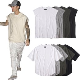 Men's Plain T-Shirt Justin Bieber Hip Hop Sleeveless Longline Tank Top Hipster Curved Hem Tee Shirt Men Cotton Casual T-Shirts