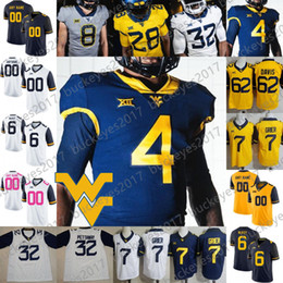 Custom 2019 WVU West Virginia Mountaineers Men Youth Kid Football Any Name Number White Blue Yellow Gray Grier Sills V Pettaway McKoy Jersey