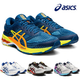 2019 New Asics Gel Gel Kayano 26 Running Shoes For Men Shoes Stripe Black Yellow Breathable Designer Sneakers K26 Sports Shoes 36-45