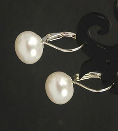 beautiful 11-12 mm white FW pearl earring silver stud Natural White Sea Pearl Leverback Silver Earrings