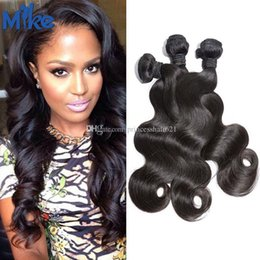 """MikeHAIR Indian Remy Human Hair Weaves 3 Bundles Classic Style Body Wave Wavy Hair Extensions 8""""-30"""" Peruvian Malaysian Brazilian Hair Wefts"""