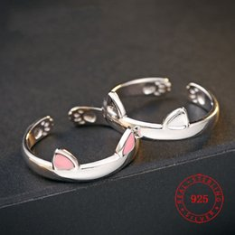 2018 new pinky ring design fashion 925 silver white gold plated ladies lovely cat finger ring modern jewelry