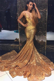 2019 New Arrival Sequined Gold Mermaid Prom Dress Spaghetti Straps Long Prom Gowns Vestidos Formal Prom Dresses Party Fiesta Evening Gowns