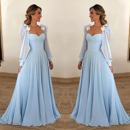 2019 Light Sky Blue Evening Dresses Long Sleeve A Line Feather Sweetheart Neck Formal Occasion Prom Party Dresses Custom Made