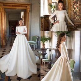 2019 Vintage Milla Nova Wedding Dresses A Line Satin Backless Sweep Train Long Sleeve Bateau Neck Winter Bridal Wedding Dress Plus Size