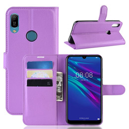 Litchi Wallet Leather Case For Samsung Galaxy A30 A20 A50 Huawei Y6 2019 Xiaomi 9 Explorer 9SE Stand ID Card Leechee Skin Cover Luxury 50pcs
