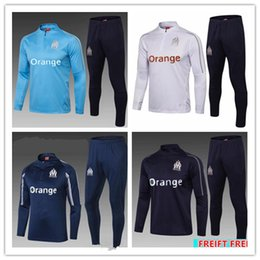 New2018Olympic Marseille Tracksuit Soccer Jogging Football Tops Coat Pants Sports maillot om Training 18 19 Suit Men OM Football tracksuit