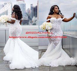 Plus Size Mermaid Wedding Dresses 2019 Off The Shoulder Trumpet Bridal Gowns Sweep Train Tulle Lace African Wedding Dress Vestidos De Novia