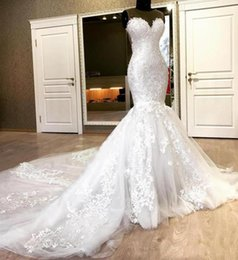 Sweetheart 2020 Plus Size Mermaid Lace Wedding Dresses Beaded Appliques Tulle Long Bridal Dress Chapel Train Wedding Gowns Vestido De Noiva