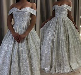Silver Sequined Long Prom Dresses Off Shoulders Sweetheart A Line Sparkly Sequins Formal Evening Party Gowns Fashion Wear