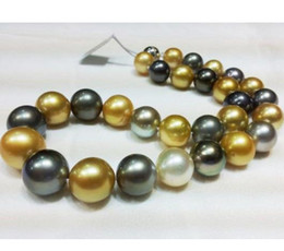 18 Inch 10-11mm South Sea Black Gold White Mixed Color Round Pearl Necklace 14K Gold Clasp